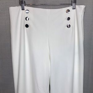 Calvin Klein White Wide Leg Sailor Pants Size 10